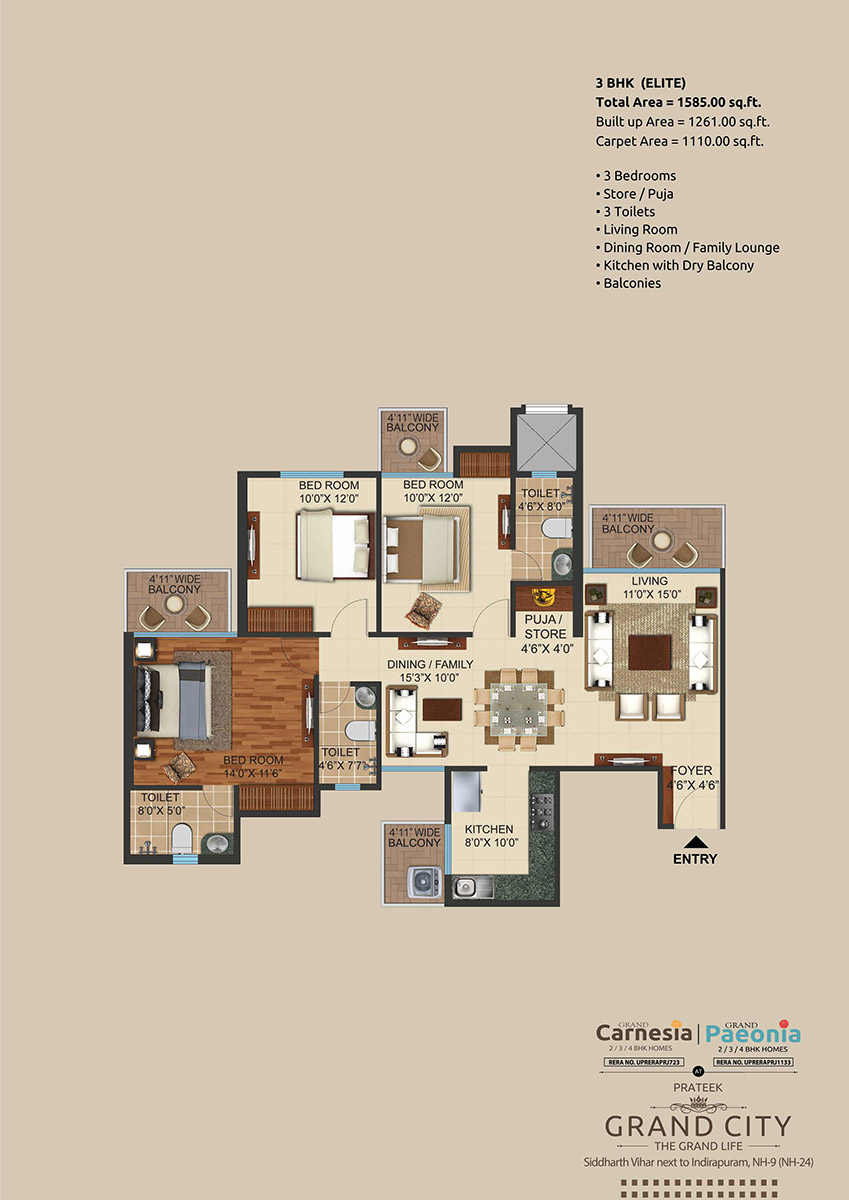 3 BHK + 3T + Store
